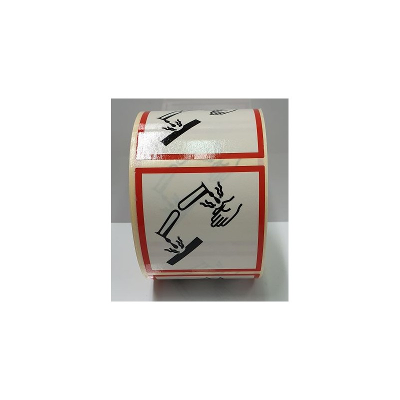"GHS0525ASR-""Corrosiu"" Rotllo d'Etiquetas adhesivas per envasos 25x25 mm."