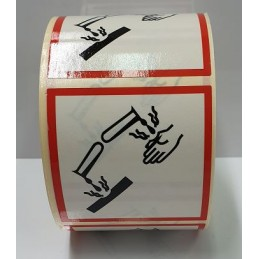 """SYSSA - Tienda Online - Etiquetas adhesivas para envases """"Corrosivo"""" 50x50 mm"""