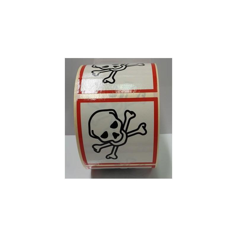 """GHS0650ASR-""""Tóxic"""" Rotllo d'Etiquetas adhesivas per envasos 50x50 mm."""