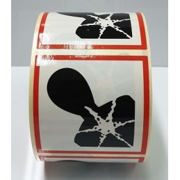 """SYSSA - Tienda Online - Etiquetas adhesivas para envases """"Peligroso para la salud"""" 25x25 mm"""