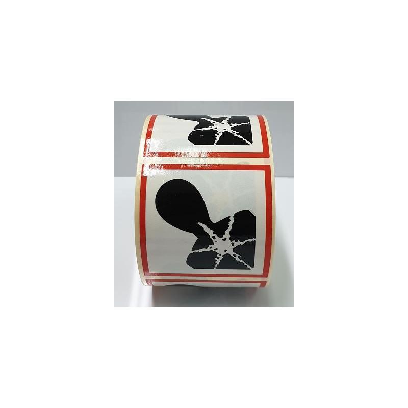 """GHS0825ASR-""""Perillós per a la salut"""" Rotllo d'Etiquetas adhesivas per envasos 25x25 mm."""