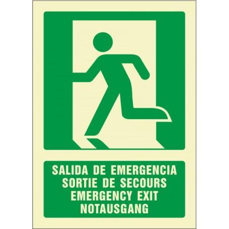 OFERTA Salida de Emergencía 4 idiomas- Fotoluminiscente