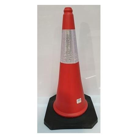 Cono de señalización tráfico color Naranja con banda reflectante de 75 cm. altura