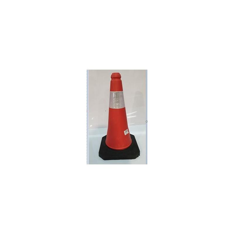 0BCR50C-Cono de señalización tráfico color Naranja con banda reflectante de 50 cm. altura