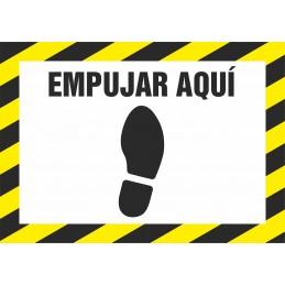 SYSSA - Tienda Online -  Señal ADHESIVO ANTIDESLIZANTE - Empujar aquí con el pie, para Prevención Covid-19