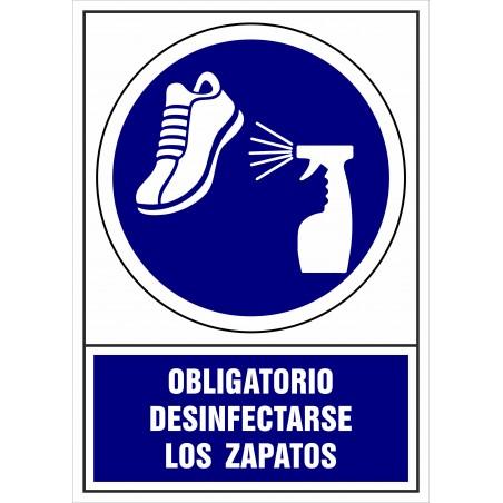 Covid-19 Señal Es obligatorio desinfectarse los zapatos