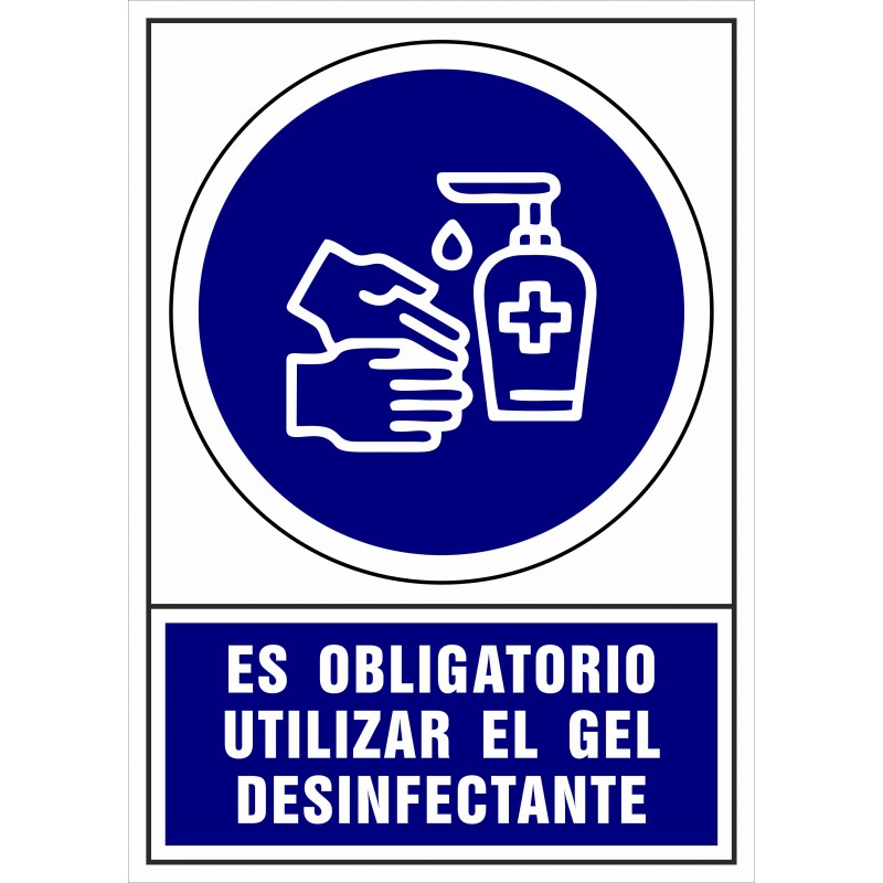 CVD408-Señalización Covid-19 - Señal de Es obligatorio utilizar el gel desinfectante