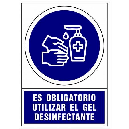 Covid-19 Señal de Es obligatorio utilizar el gel desinfectante