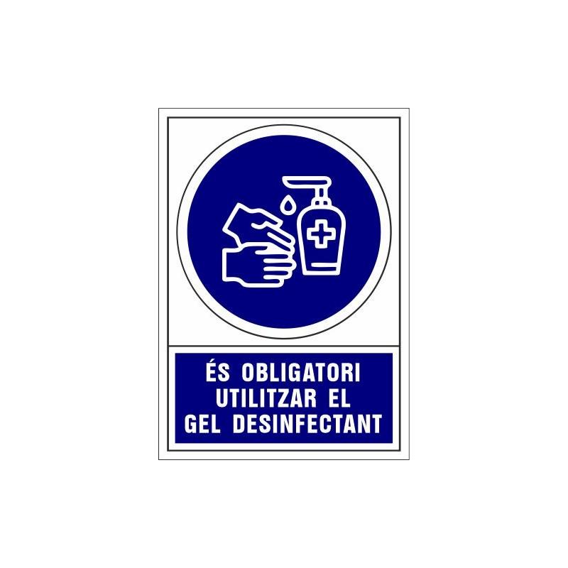 CVD408-Covid-19 Senyal d'Es obligatori utilitzar el gel desinfectant