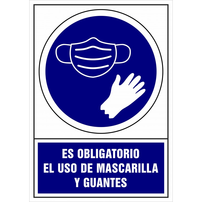 CVD402-Obligatorio uso de Mascarilla y Guantes - Señalización Covid-19