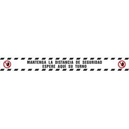SYSSA - Tienda Online -  Tira adhesiva suelo mantenga distancia seguridad espere aqui su turno - Covid-19