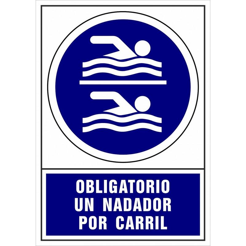 CVD413-Señal Obligatorio un nadador por carril de la piscina - Señalización Covid-19
