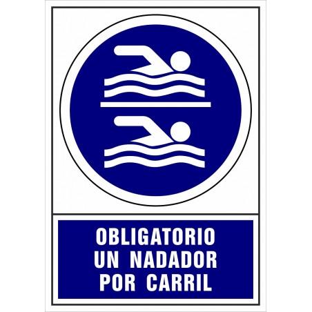 Covid-19 Señal Obligatorio un nadador por carril de la piscina