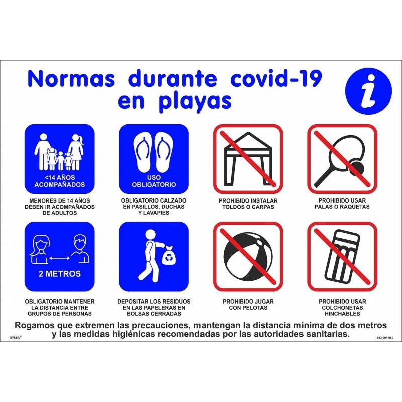 CVDCNP-Cartel Normas en las playas - Señalización Covid-19