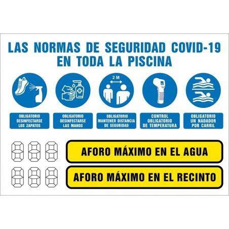 Covid-19 Cartel Normas Seguridad en la Piscina y limitación de Aforos