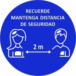 SYSSA - Tienda Online -  disco adhesivo de RECUERDE distancia seguridad 2 metros Covid-19