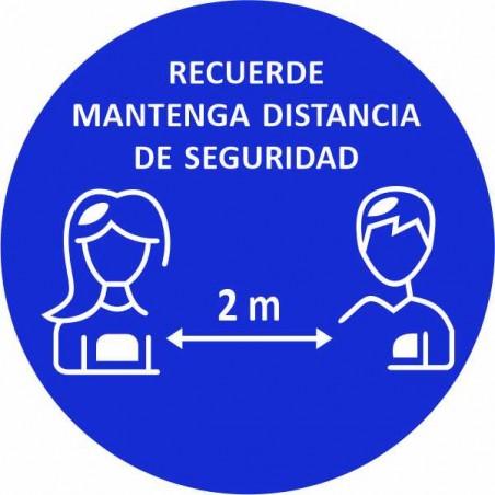 Covid-19 Disco Adhesivo antideslizante para suelo RECUERDE Mantenga distancia de seguridad 2 m. o 1,5 m. (PAQUETE 5 UNIDADES)