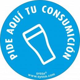 """SYSSA - Tienda Online -  disco adhesivo antideslizante para barra """"Pide aquí tu consumición"""" Covid-19"""