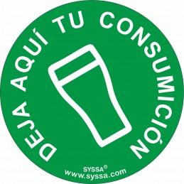 """SYSSA - Tienda Online -  disco adhesivo antideslizante para barra """"Deja aquí tu consumición"""" Covid-19"""