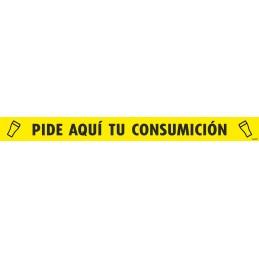 """SYSSA - Tienda Online -  Tira adhesiva suelo/barra """"PIDE AQUÍ TU CONSUMICIÓN"""" - Covid-19"""