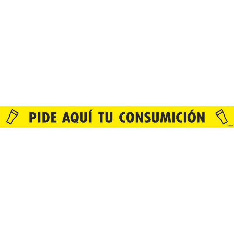"""CVDTPCA100AS-Tira Adhesiva antideslizante para suelo/barra """"PIDE AQUÍ TU CONSUMICIÓN"""" (PAQUETE 5 UNIDADES) - Señalización Covid-19"""