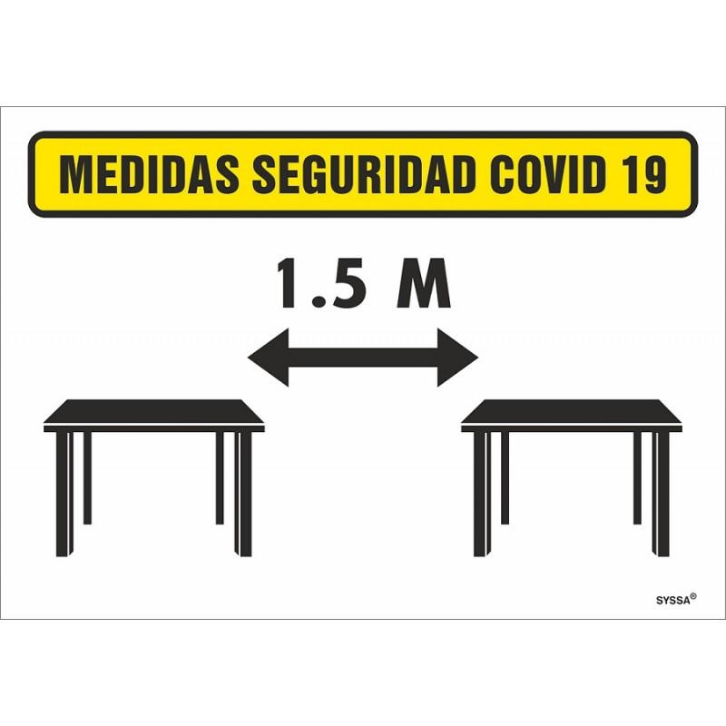 CVDDSM-Señal de Distancia de 1,5 m. entre mesas - Señalización Covid-19