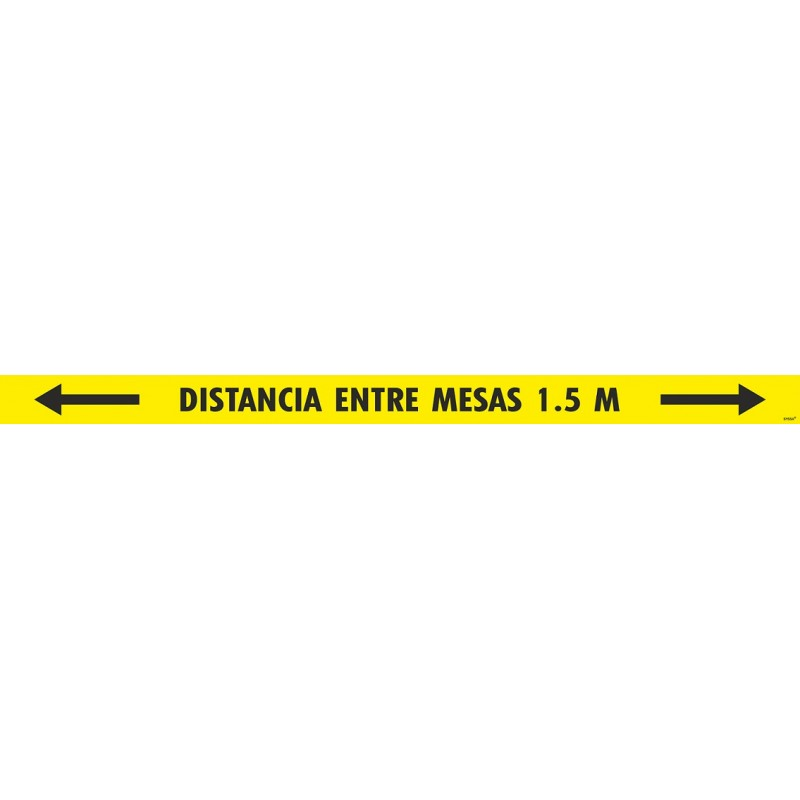 "CVDTDEM150-Tira Adhesiva antideslizante para suelo ""DISTANCIA ENTRE MESAS 1,5 m."" (PAQUETE 5 UNIDADES) - Señalización Covid-19"