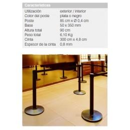 SYSSA - Tienda Online -  Covid-19 Poste negro con base y con cinta retráctil en color rojo - (1 Unidad)