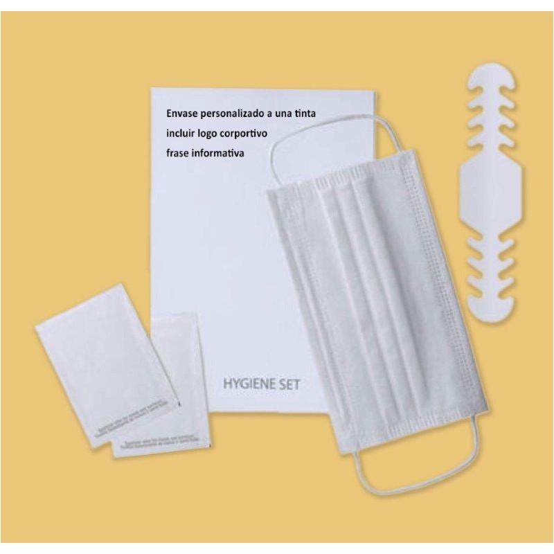 CVDPH-Pack Higiénico-1 Mascarilla- 2 Toallitas-1 ajustador, bolsa personalizable - Protección Covid-19