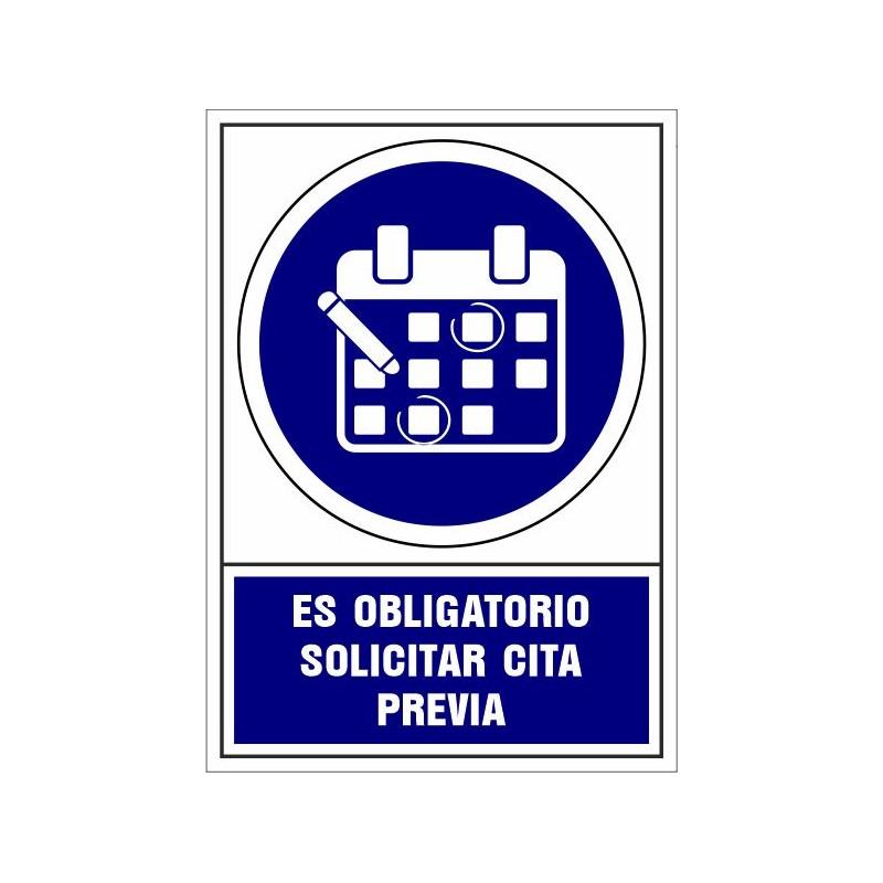 CVD414-Señalizacion Covid-19 Es obligatorio solicitar cita previa