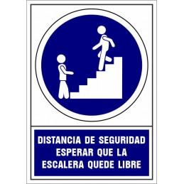 Señalización Covid-19 - SYSSA - Tienda Online -  Señal Covid-19 obligación de esperar a que la escalera quede libre