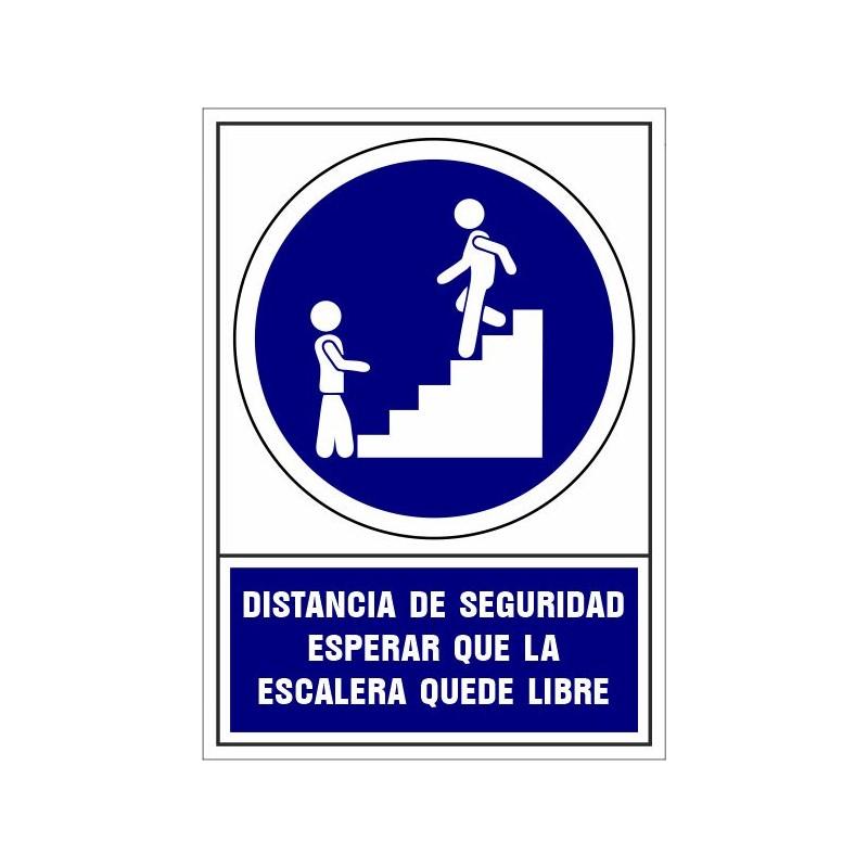 CVD416-Señalizacion Covid-19 - Distancia de seguridad esperar  que la escalera quede libre