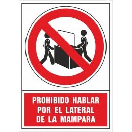 SYSSA - Tienda Online -  Señalización COVID-19, Señal de Prohibido hablar por el lateral de la mampara