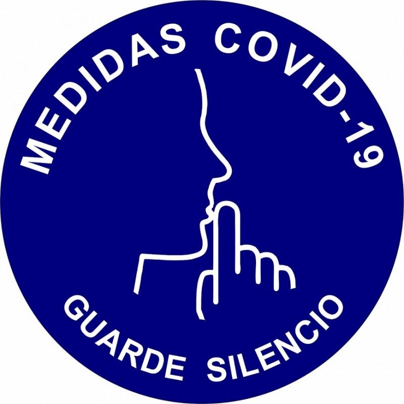 """CVDGS-Señalización Covid-19 - Disco Adhesivo """"GUARDAR SILENCIO"""""""