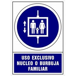 Señalización Covid-19 - SYSSA - Tienda Online -  Uso Obligatorio de Ascensor a burbuja o grupo familiar