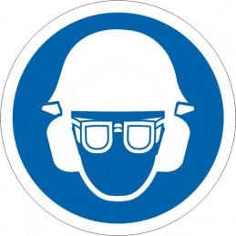 SYSSA Señalización - ,Señal Es obligatorio el uso de casco, gafas y protección acústica