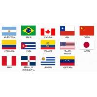 Banderas de tela de países del continente americano