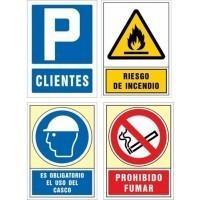 Packs señalizacion riesgos laborales, evacuación, y contra incendios