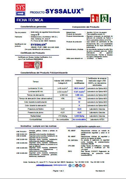 Ficha tecnica SYSSALUX aluminio0,8 mm