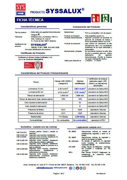 Ficha tecnica SYSSALUX pvc 1 mm