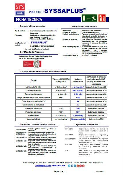 Ficha tecnica SYSSAPLUS ALUMINIO 0,8 mm