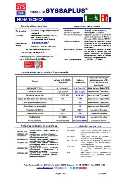 Ficha tecnica SYSSAPLUS aluminio 1 mm
