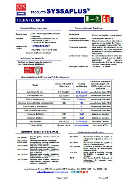 Ficha tecnica SYSSAPLUS pvc 1 mm