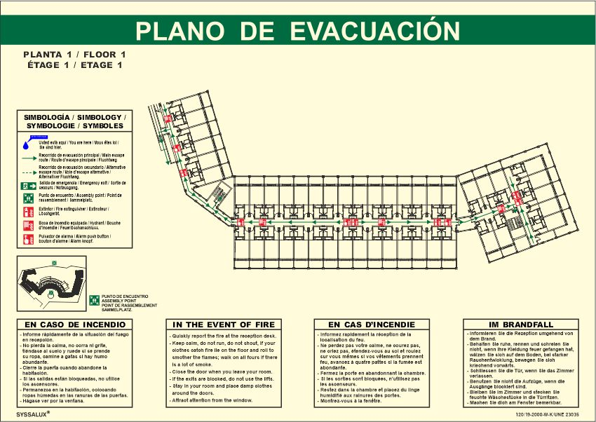plano evacuacion fotoluminiscente horizontal